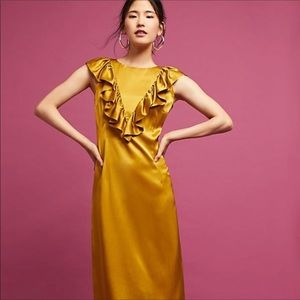 Anthropologie raffled satin dress in mustard gold